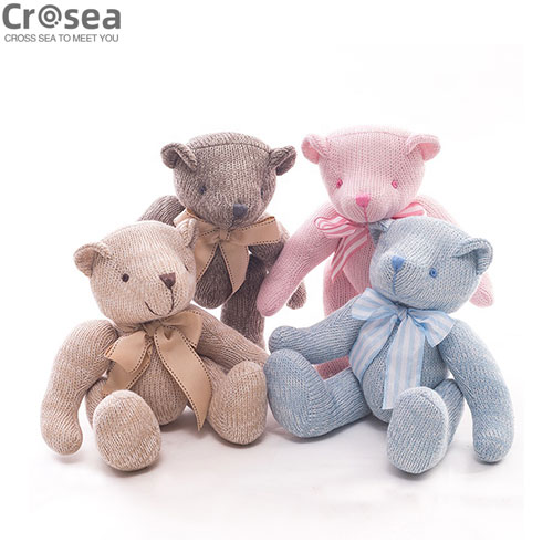 Hand knitting Teddy Bear Plush Pillow Slipper Pet toys Bags
