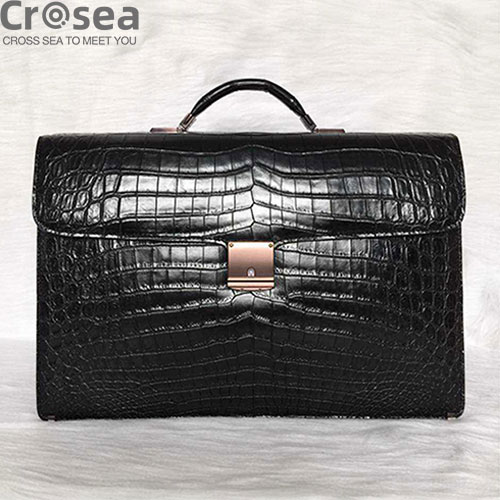 Luxury new design men genuine crocodile leather brifecase bag