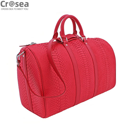 Luxury new design men genuine python skin tube bag orange red
