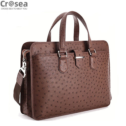 Luxury new design men Genuine Ostrich skin brifecase bag brown color