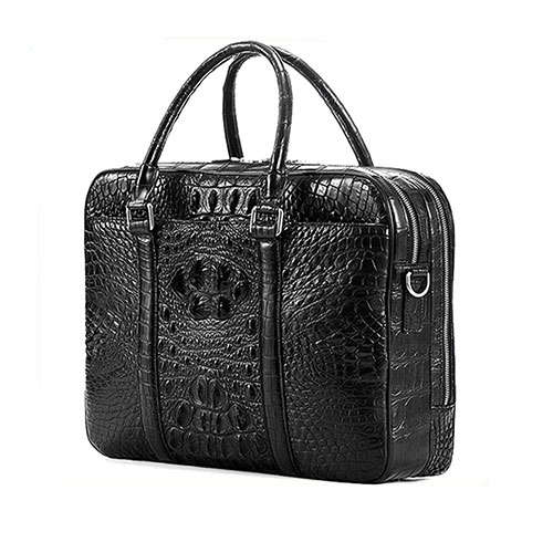 Luxury men genuine crocodile leather brifecase bag black color