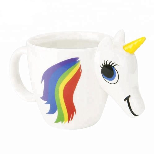 Creative 3D Cute Animal Magic Rainbow Unicorn Cup Color Changing Temperature Control Coffee Mug