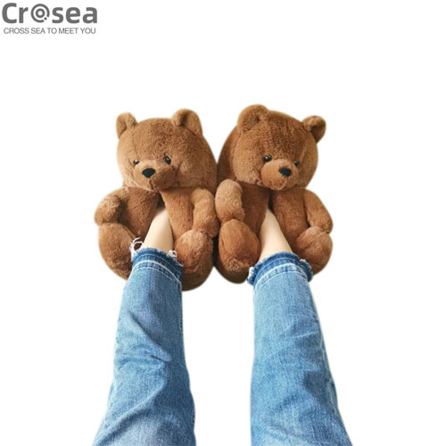 Cute amazon brand new brown teddy bear slippers bear house slippers