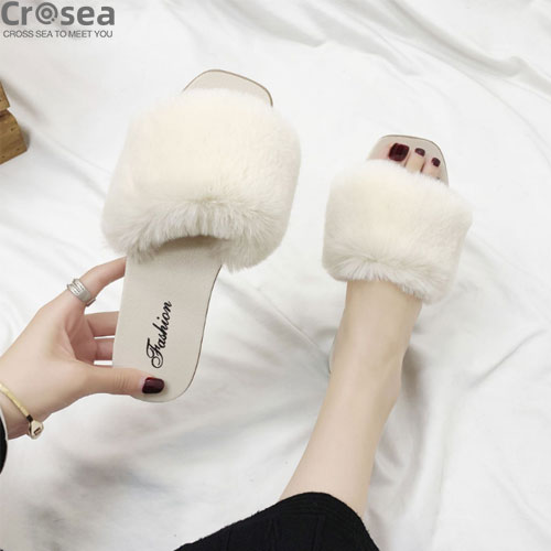 Cheap Promotion Fur Fluffy Slippers Wholesale House Home Winter Slipper Heels For Women Ladies